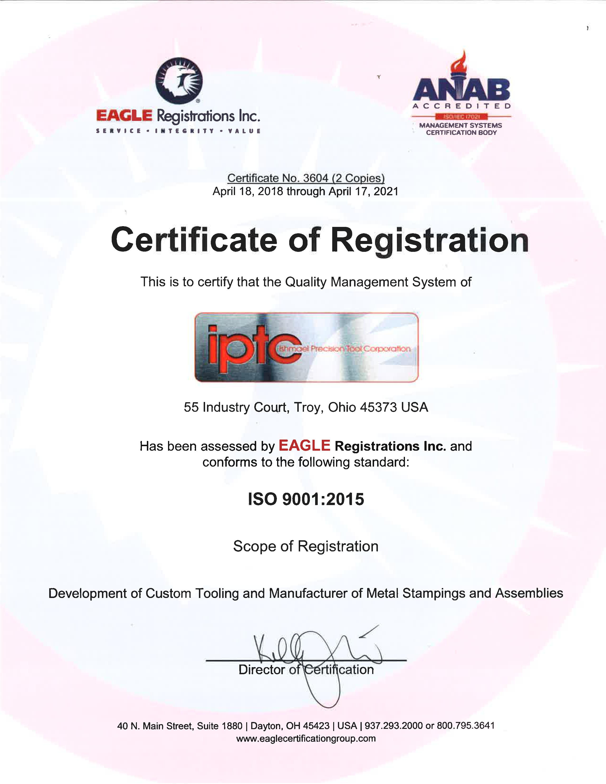 ISO 9001:2015 certs